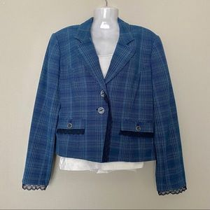 SAG HARBOR Blue Plaid Blazer